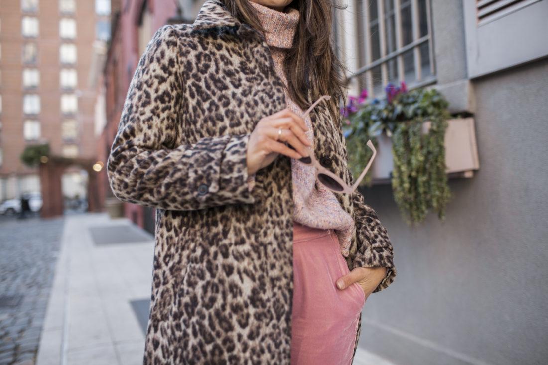 J.Crew Pink Velvet Pants, Wool Turtleneck Sweater, Leopard Coat