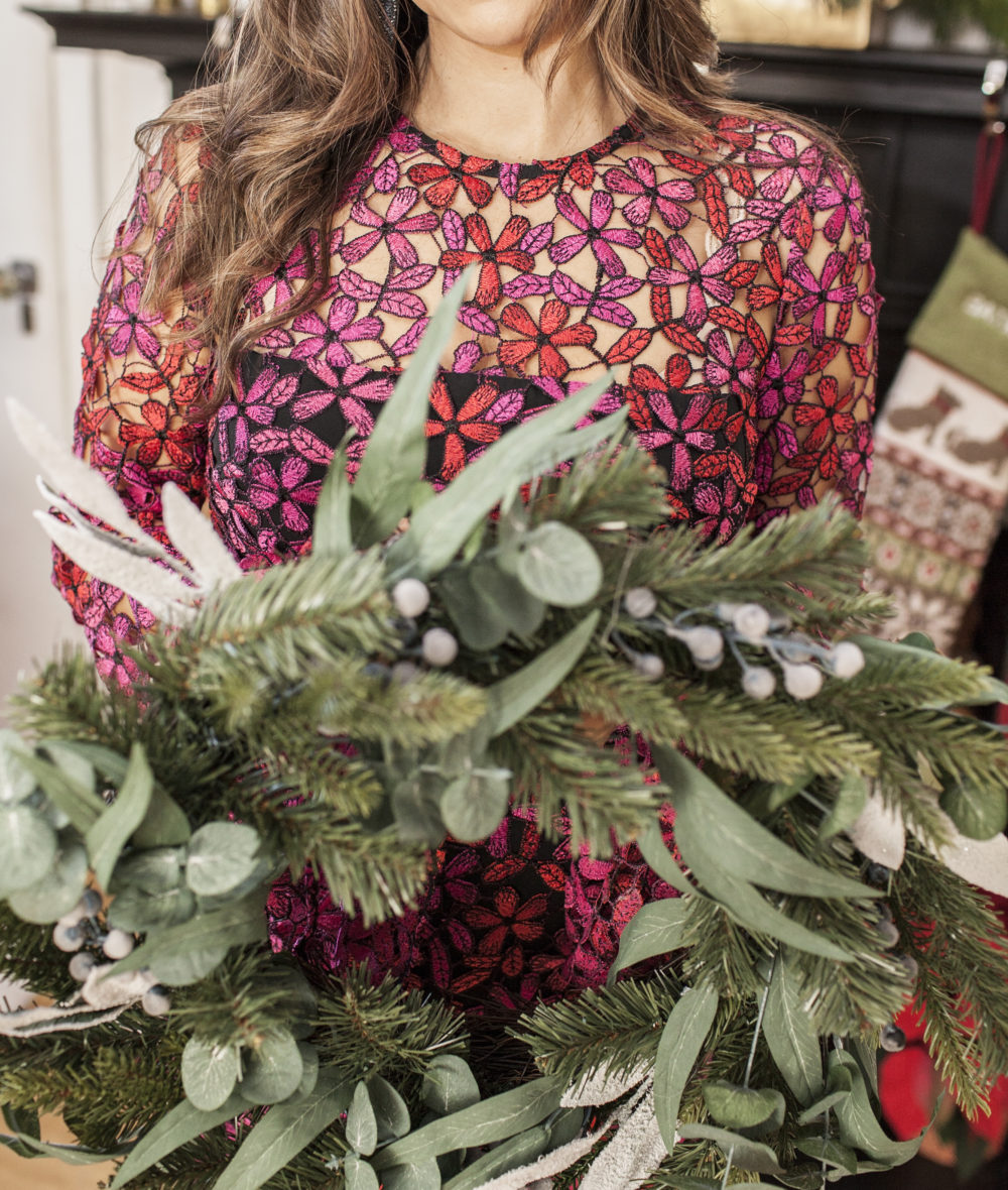 Shoshanna floral lace dress Christmas wreath