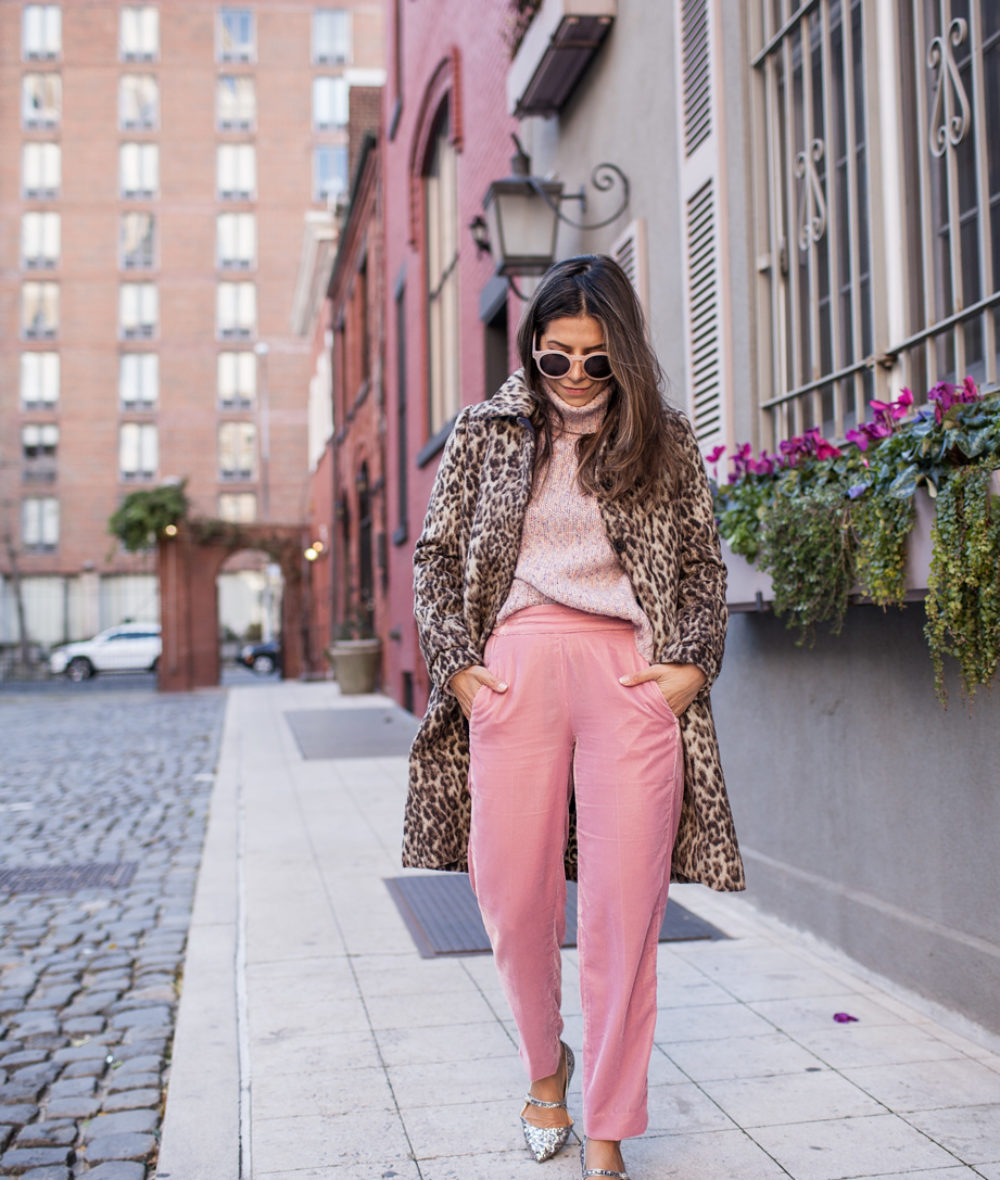 J.Crew Pink Velvet Pants, Glitter Mary Jane Flats, Wool Turtleneck Sweater, Leopard coat, Sunglasses, Pink Outfit