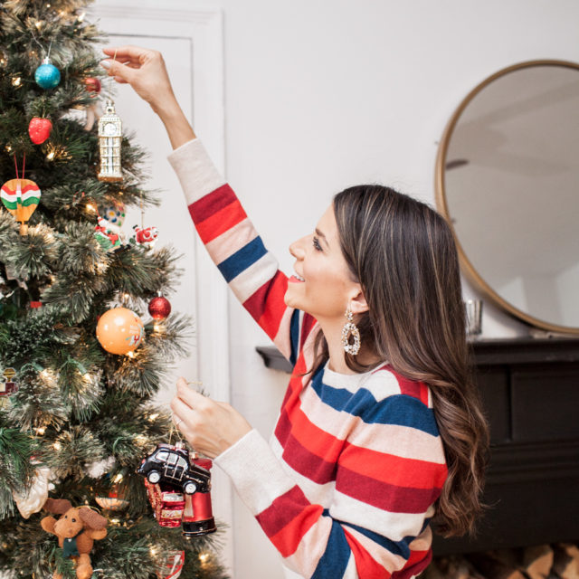 Christmas tree Marks & Spencer holiday traditions cashmere sweater Christmas tree ornaments