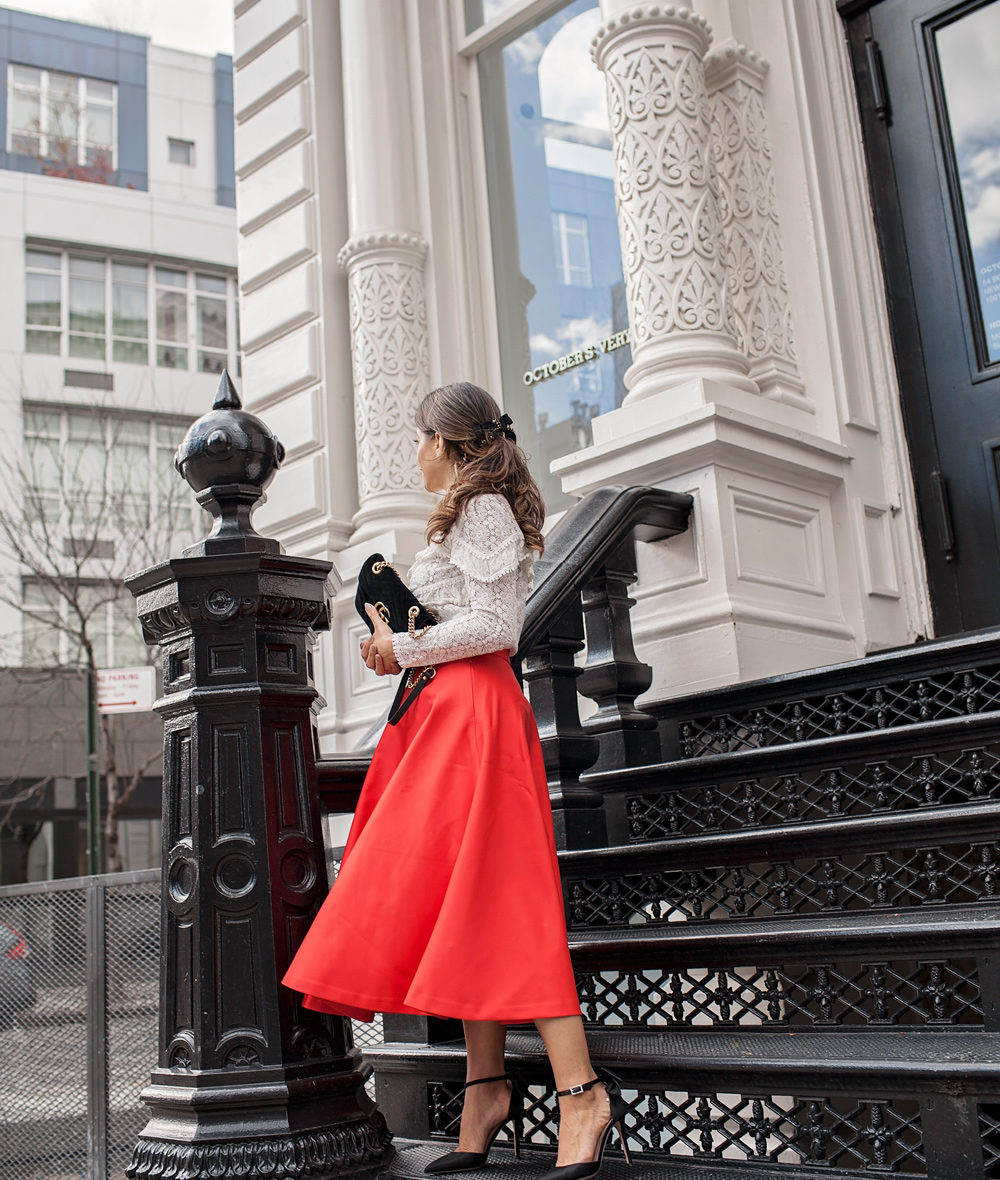 H&M Red skirt and black SJP bow heels small velvet Gucci shoulder bag Sezane ninon blouse