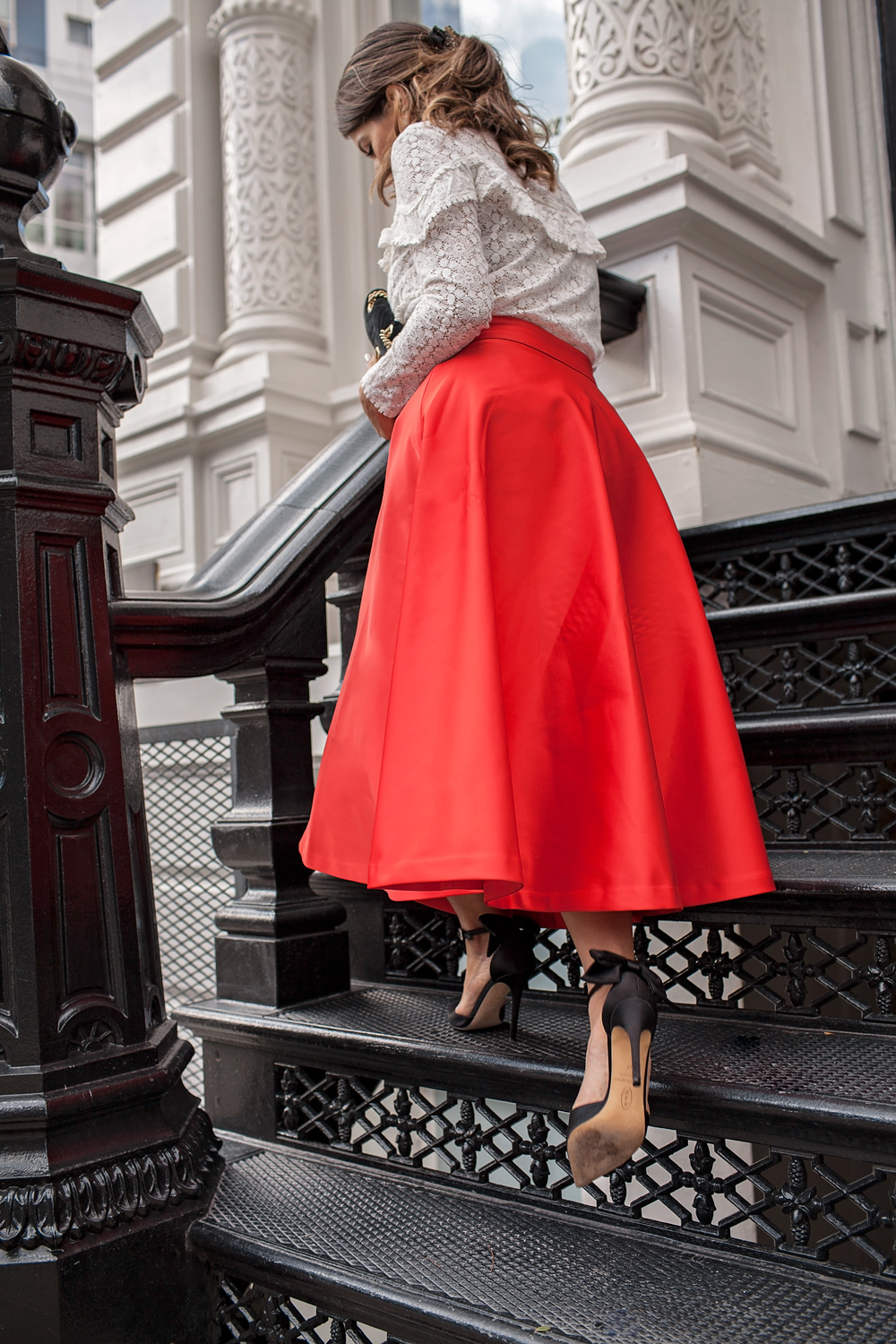 Red H&M skirt and black SJP bow heels Sezane ninon blouse