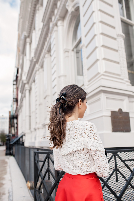 Sezane ninon blouse J Crew bow barrette