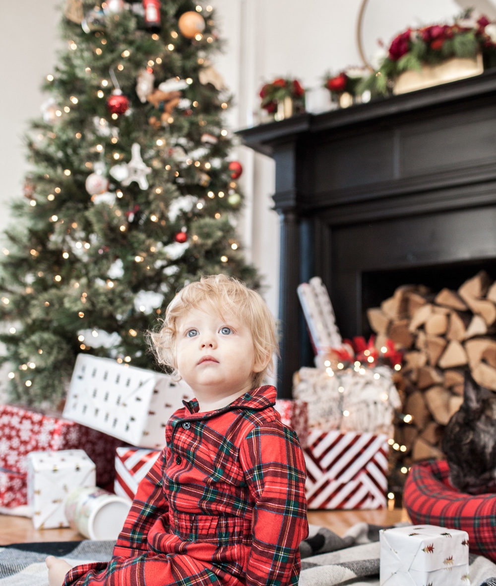 Target holiday plaid baby pajamas