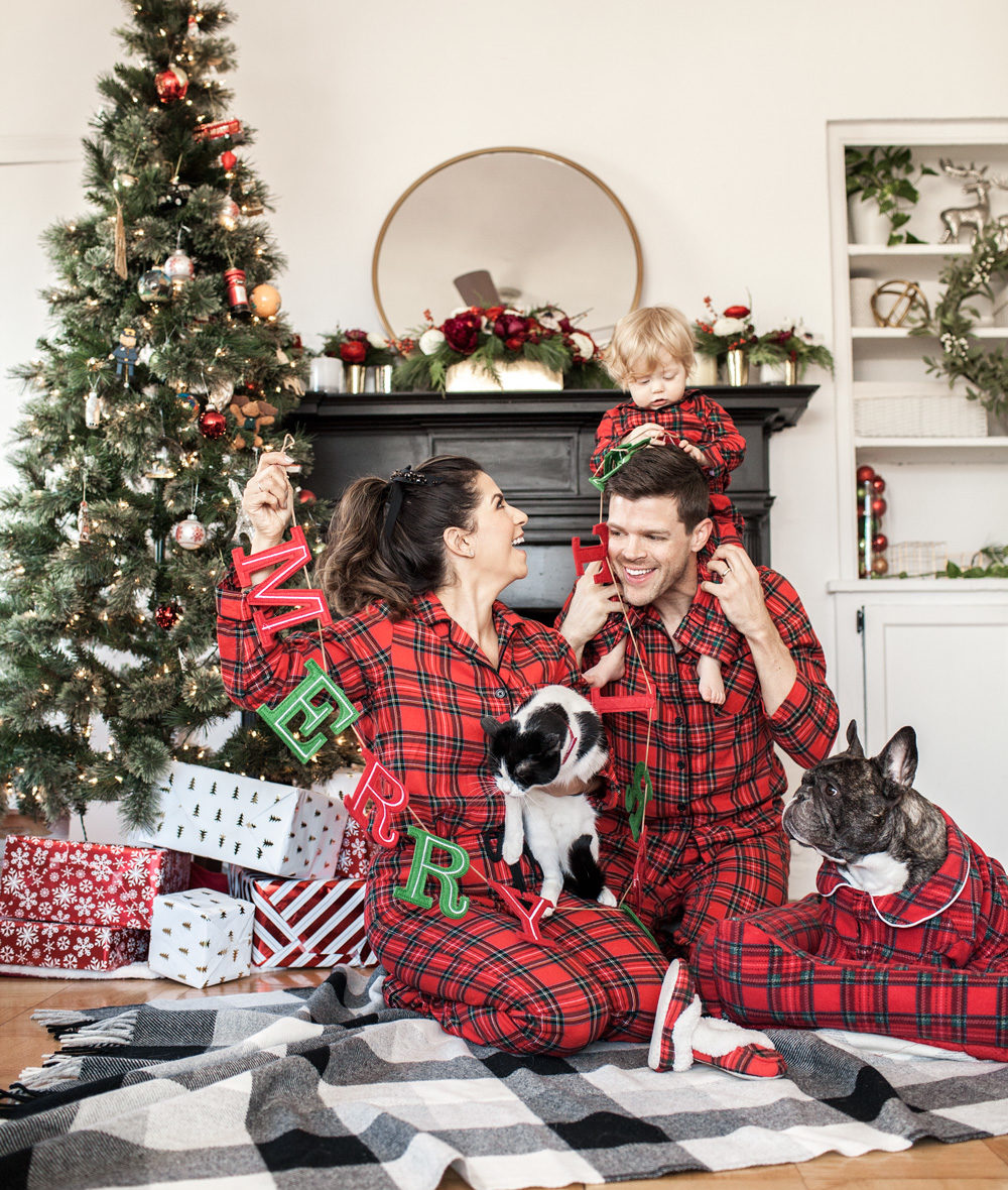 Target holiday plaid family pajamas, family time