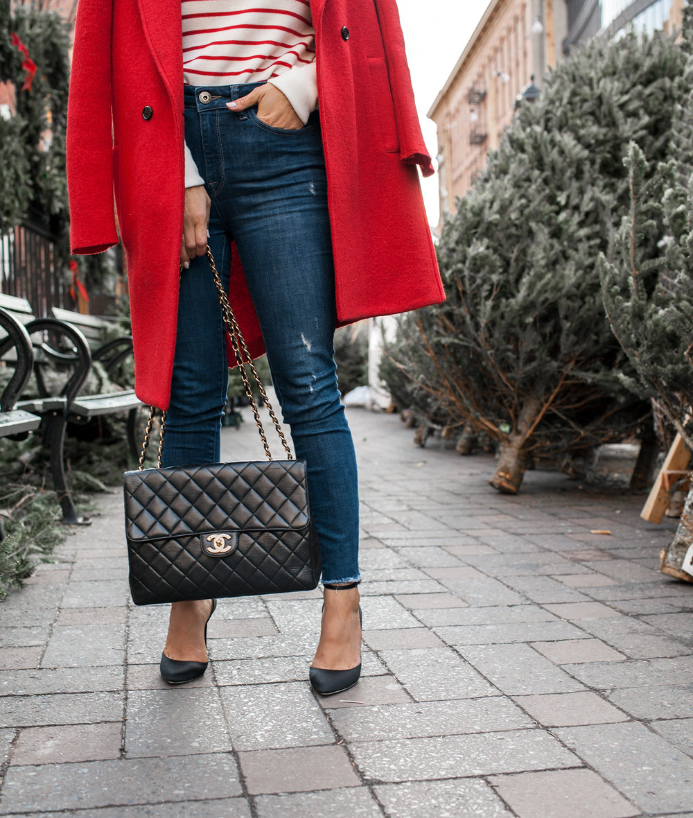 Boxing Day style, J.Crew red coat, old navy striped sweater, DL1961 denim, Jimmy Choo heels, Cluse Watch, Chanel Bag, J.Crew earrings