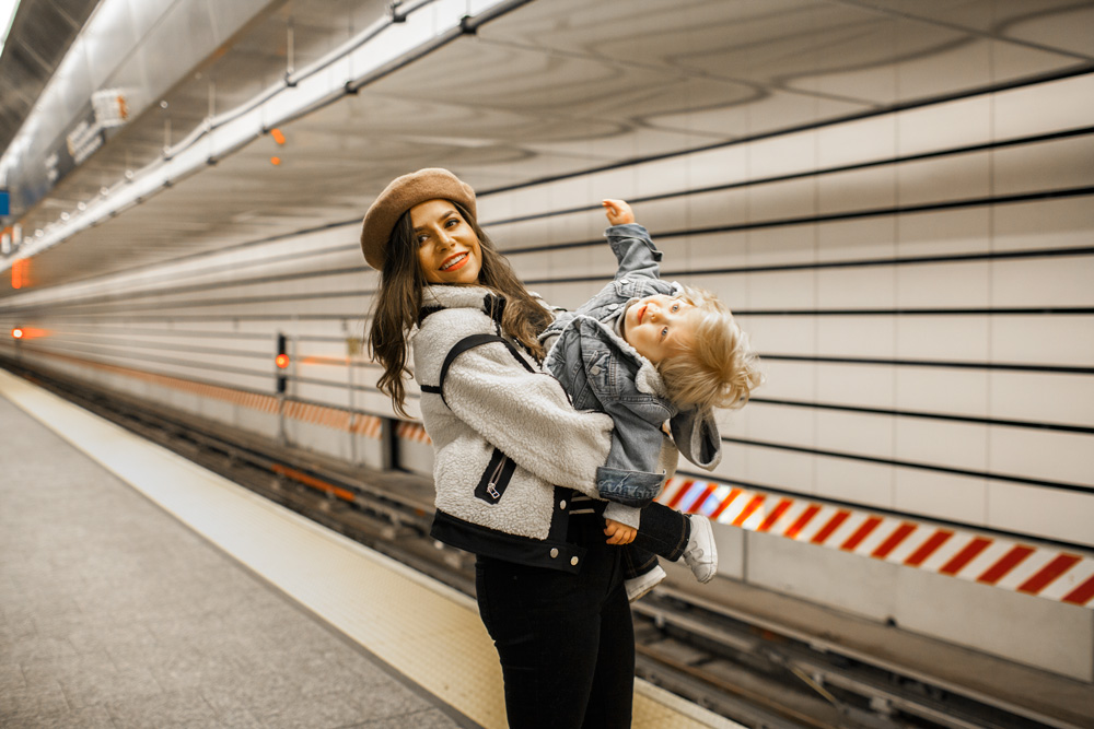 Mommy and baby, New York City, Anita Jacket, Topshop sweater, Topshop denim, Gucci bag, INC boots, Beret, Olivia Burton Watch, Baby Gap Denim Jacket