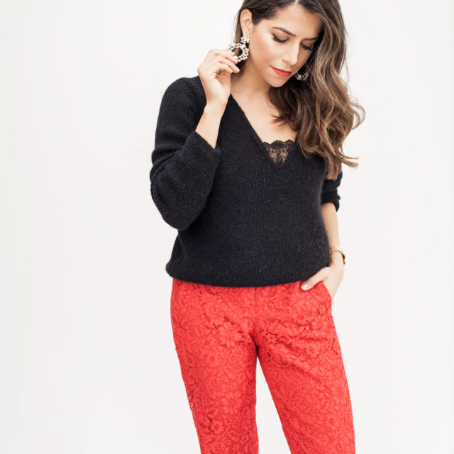 holiday work party, Red lace pants, black knit sweater with lace insert, nude heels, crystal hoop earrings
