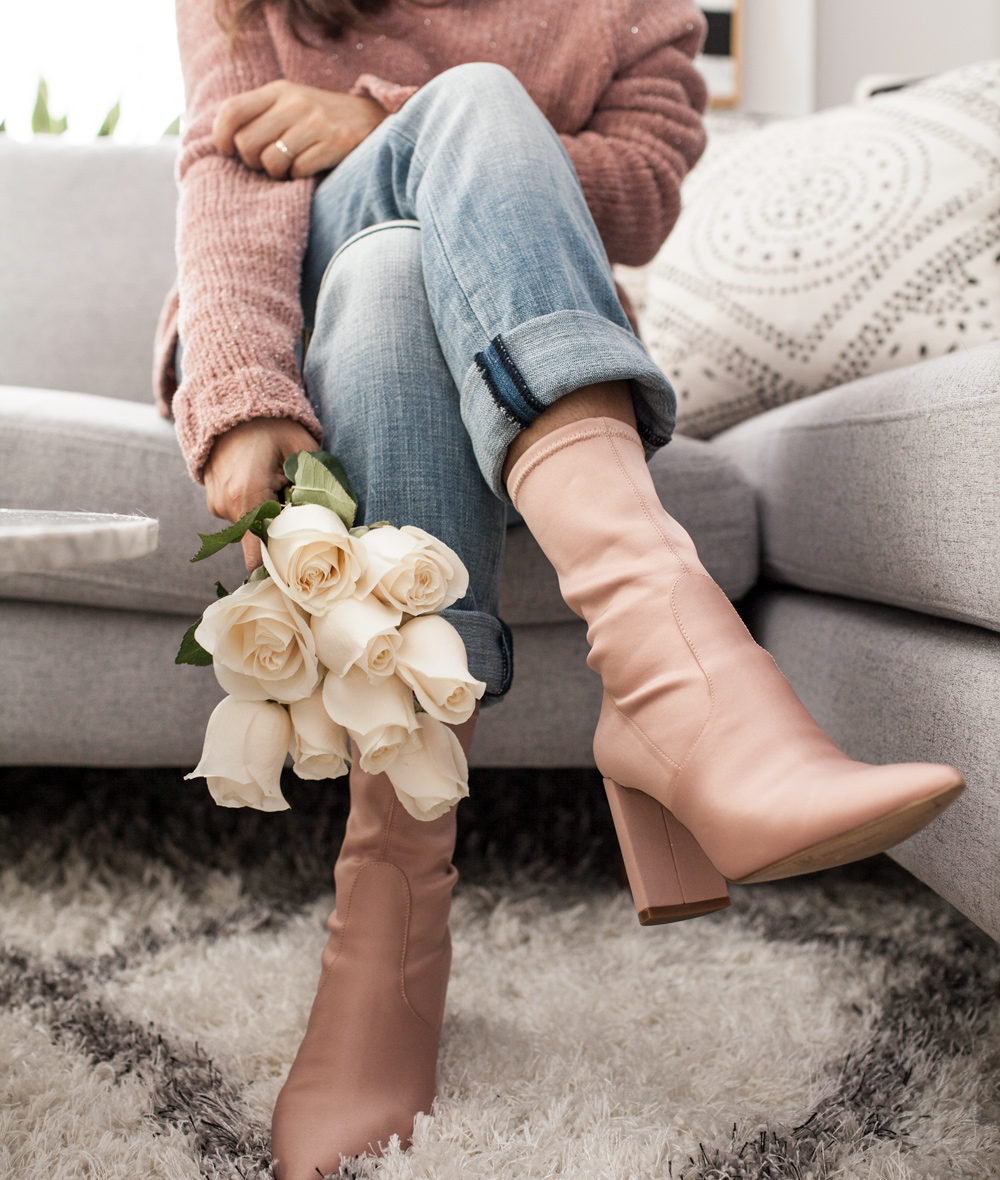 INC chunky knit sweater, boyfriend patch work jeans, sock booties