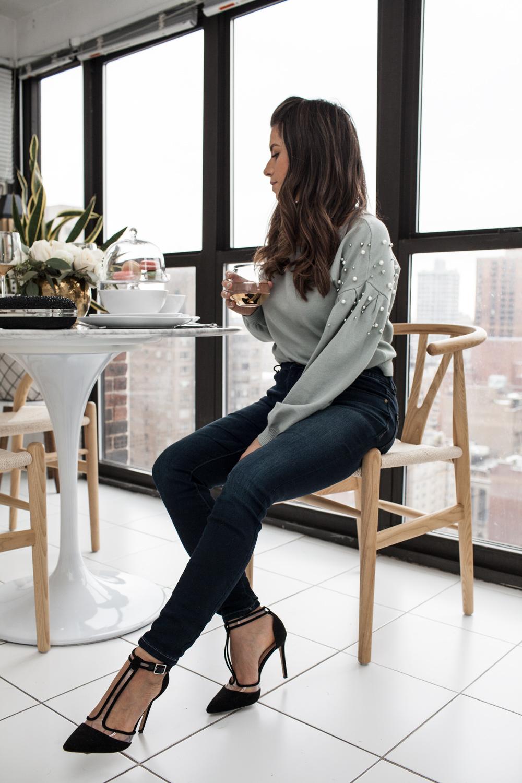 INC pearl detail sweater, dark wash skinny jeans, t-strap heels