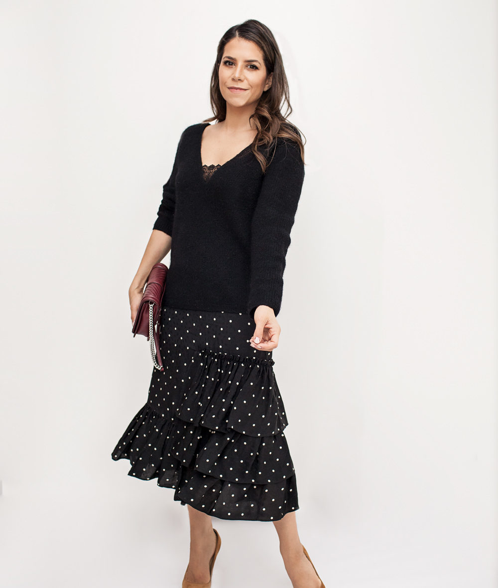 sezane sweater, HM polka dot skirt