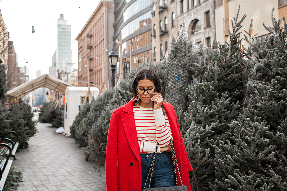 J.Crew red coat, old navy striped sweater, DL1961 denim, Jimmy Choo heels, Cluse Watch, Chanel Bag, J.Crew earrings