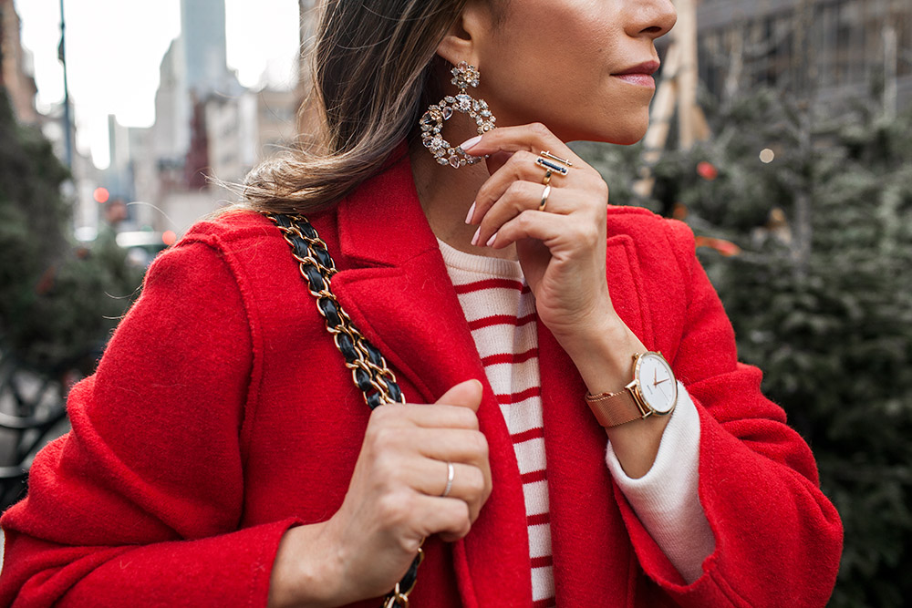 J.Crew red coat, old navy striped sweater, Cluse Watch, Chanel Bag, J.Crew earrings