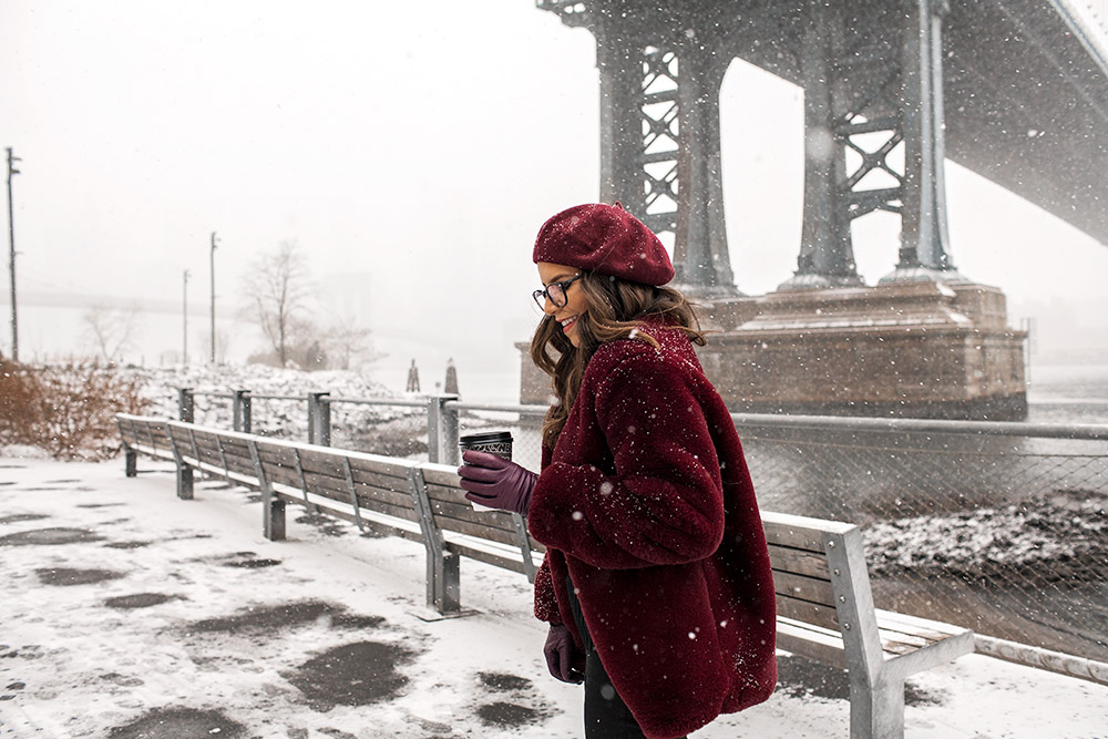 new york city snow, Dumbo, Burgundy faux fur coat, shopbob beret, zenni optical glasses