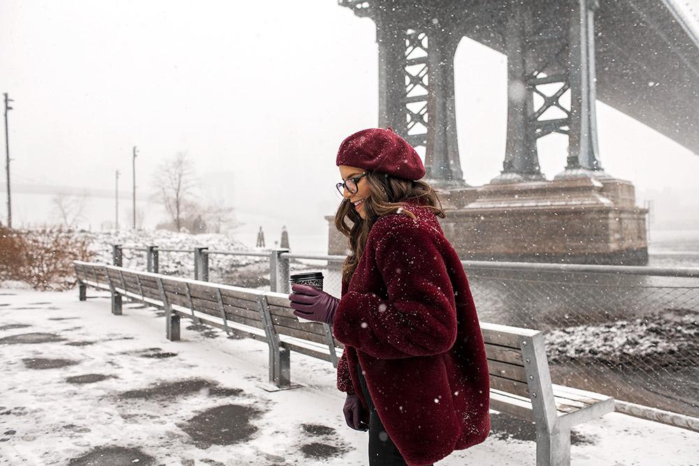 new york city snow, Dumbo, Burgundy faux fur coat, shopbob beret, zenni optical glasses