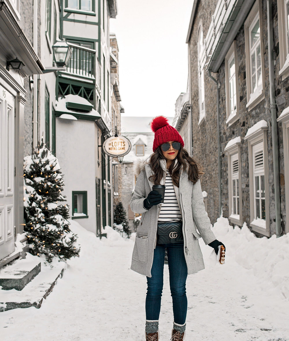 Quebec City Canada in Winter, J. Crew jacket, Gucci Belt Bag, Gucci belt bag