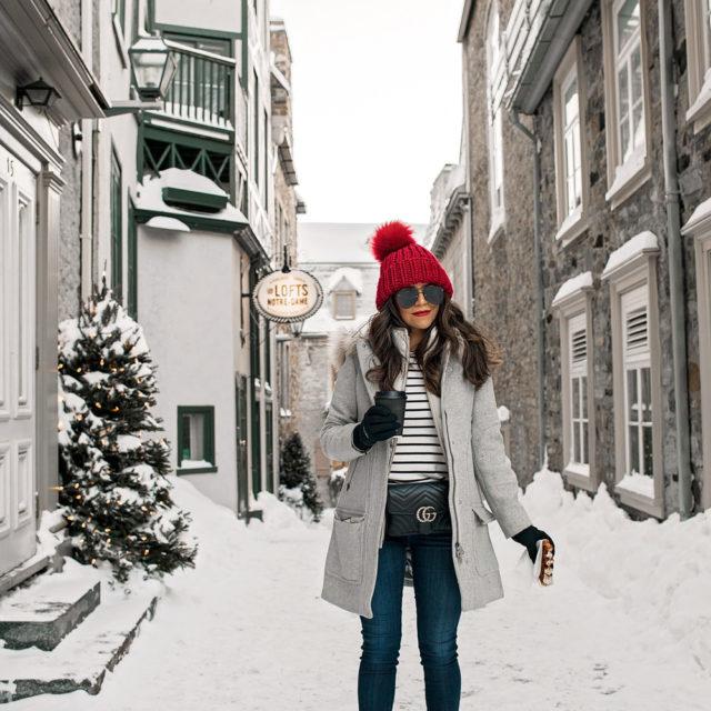 Quebec City Canada in Winter, J. Crew jacket, Gucci Belt Bag, Gucci belt bag