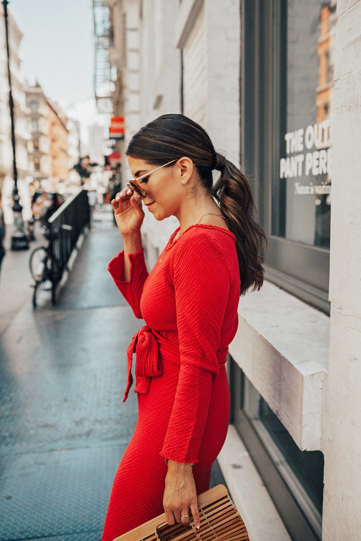 red dress white shoes Malia Mills Red Dress Soho LIllet Summer White Shoes Ponytail 3 - Olivia  Jeanette
