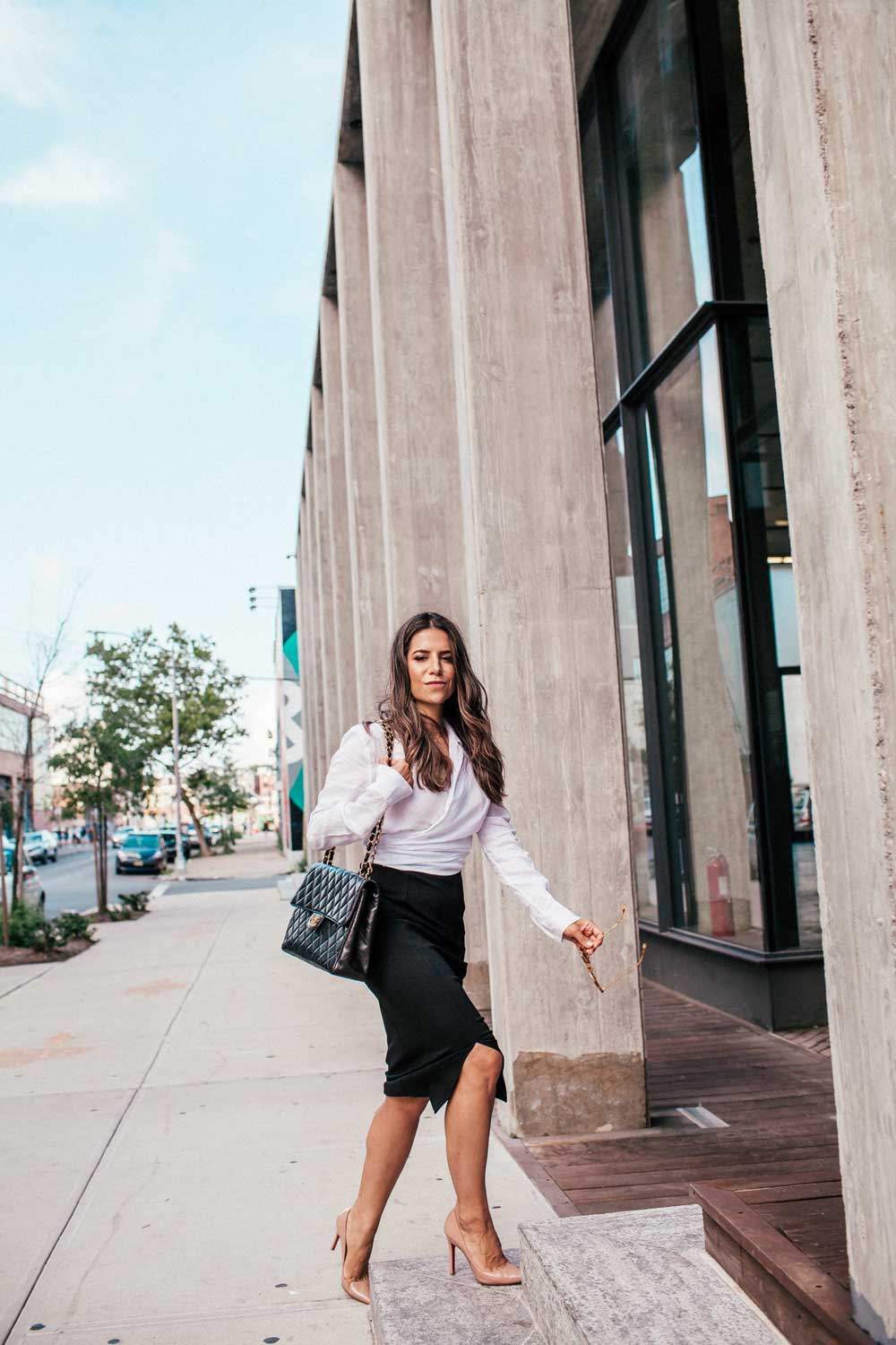e6057fadcc7ed8 Corporate Catwalk Black Pencil Skirt White Shirt Nude Heels Brooklyn  Workwear Basics Everyday Fashion Office 11