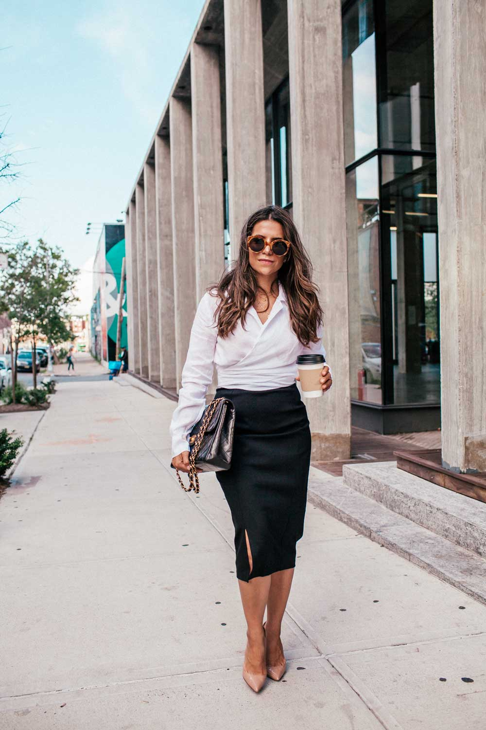 d8bf689de55556 Corporate Catwalk Black Pencil Skirt White Shirt Nude Heels Brooklyn  Workwear Basics Everyday Fashion Office 5