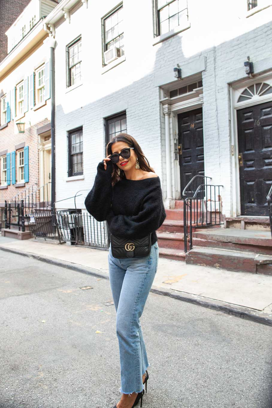 084905414f7c Black Sweater Sunglasses Gay Street Gucci Belt Bag Denim Jimmy Choo Designer  Le Specs Off SHoulder Red Lips NYC Fall 5