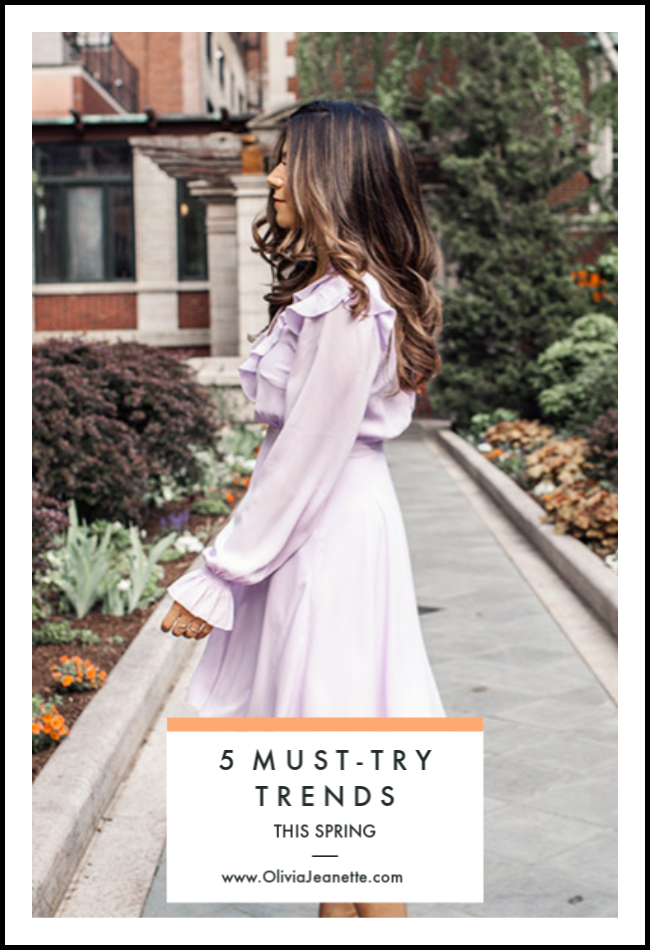 5 Must-Try Spring Trends | Spring fashion | Spring trends | What to wear | Neutrals | Neon | Polka dots | Lavender dress || Olivia Jeanette #springfashion #springtrends