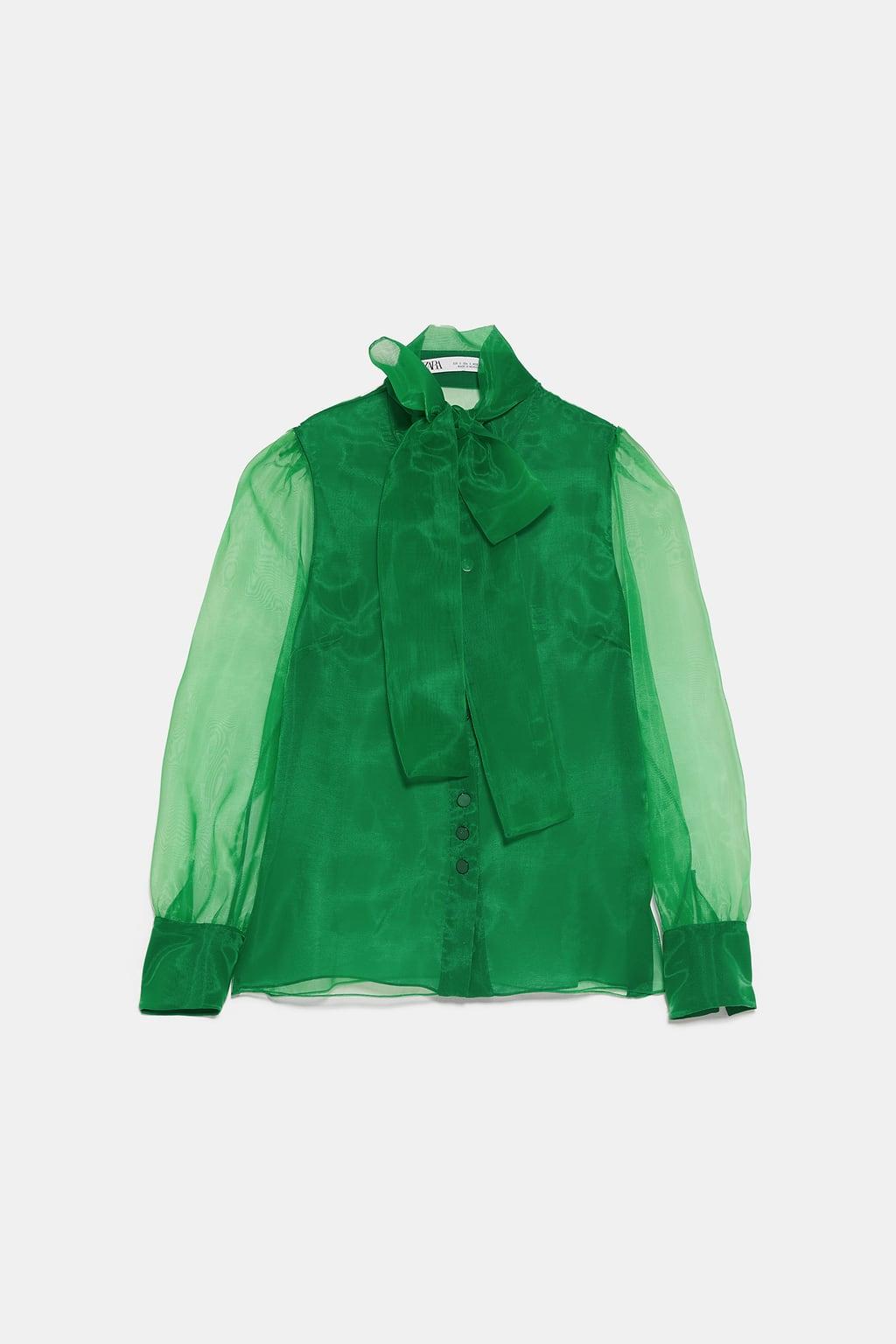zara green blouse spring trends